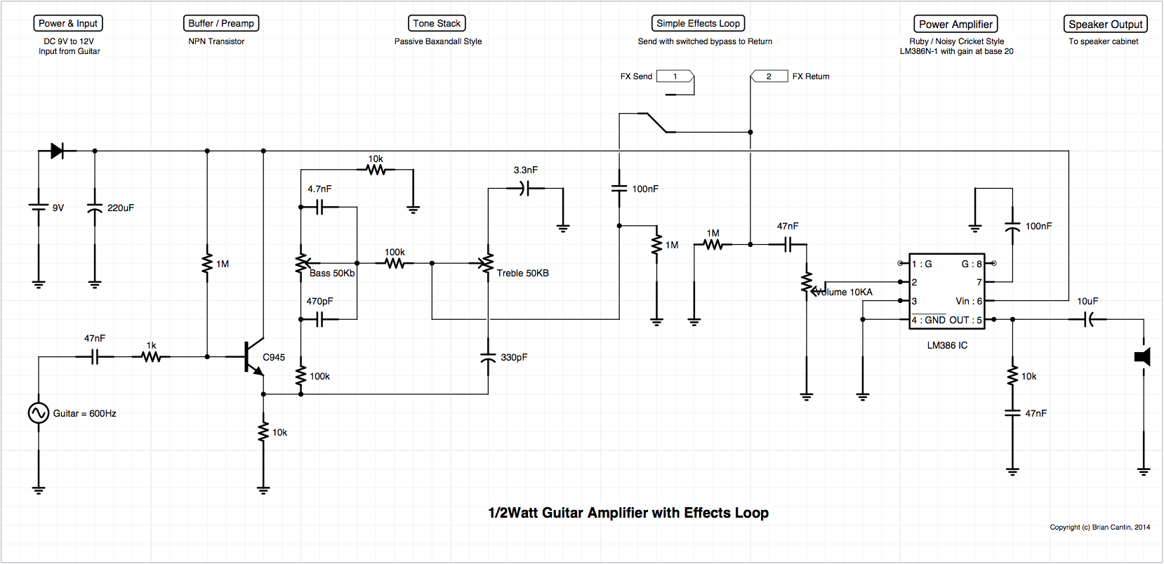 Looper Guitar Pedal Wiring Diagram Library For The Amplifier Wire Schematic Core Amp Design V1 Corrected Miniature Clean Channel With